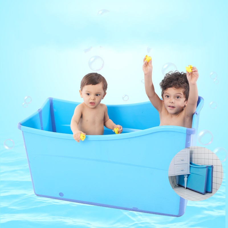 Large Size Folding Child Kids Bath Tub Thicken Solid Pink/Blue Baby