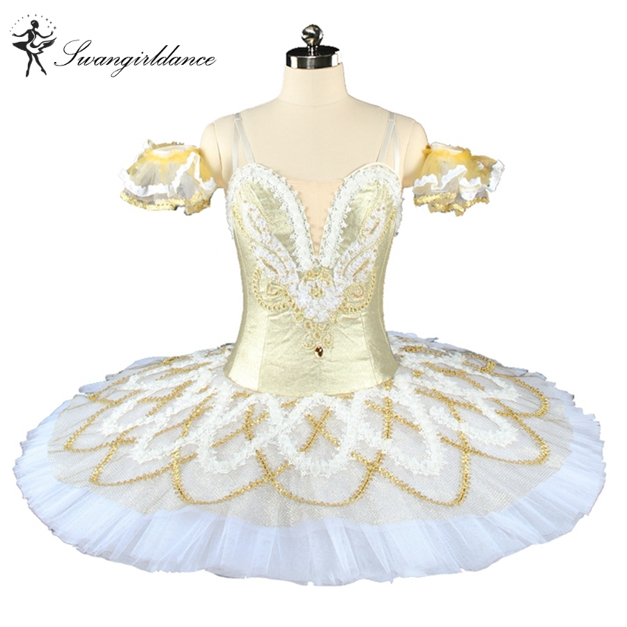 Women gold white pancake  professional queen ballet tutu girls classical nutracker costume custom BT9154