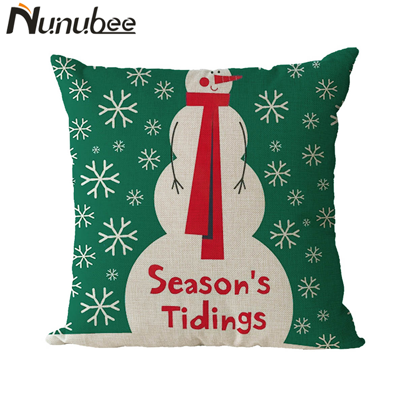 Nunubee Let It Snow Xmas Style DIY Customized Cushion Merry Christmas Series Home Decorative Pillows Cover Nordic 45*45CM