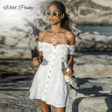 WildPinky Lace Up Off Shoulder Women Dress Summer Puff Sleeve Casual Short White High Street Beach Vestidos