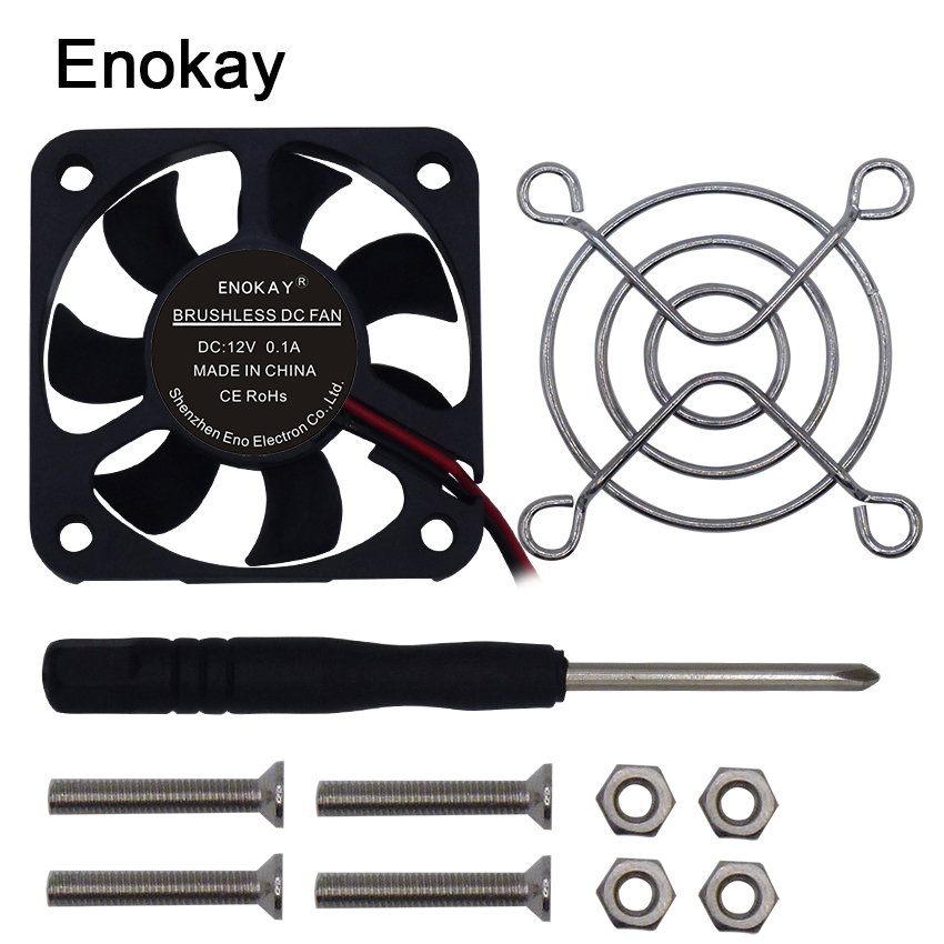 1pc High quality Enokay New DC 5010 50*50*10 12V 2Pin 50mm 5cm Industrial Cooling Fan with Grille new and original kde1205pfv3 12v 0 8w 5010 5cm ultra quiet cooling fan for sunon 50 50 10mm