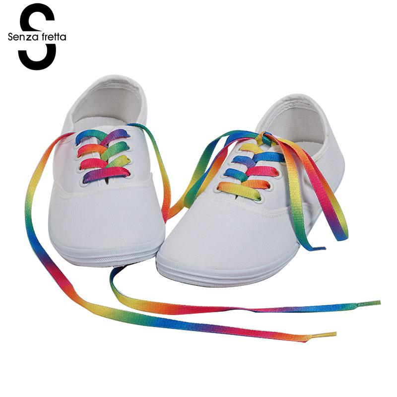 Senza Fretta 2 Pairs Fashion Rainbow Color Shoelaces Men Women 120cm Flat Shoe Sport Shoes Laces Multi-color Shoelace LDD0531Q2 flat laced letter nice men s sports shoes fashion casual shoes black and white shoelace 120cm