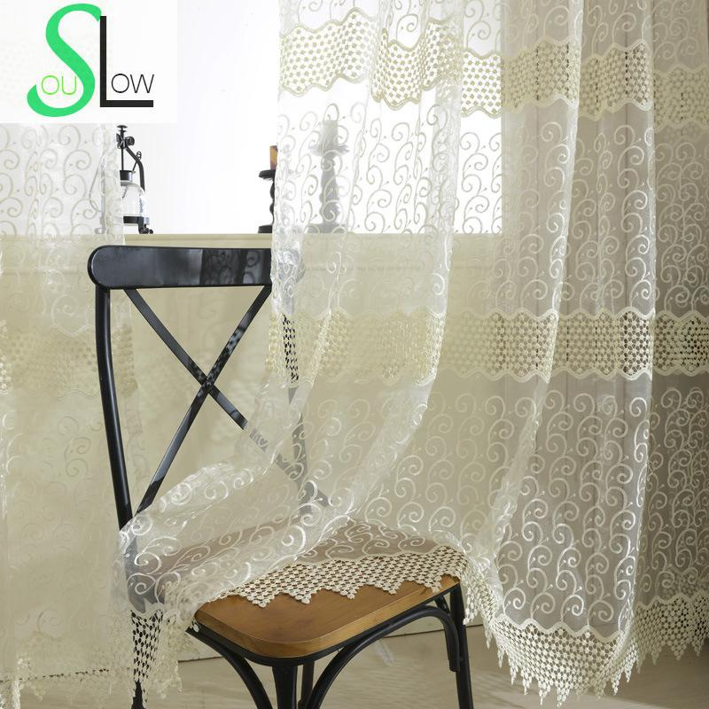 High End Decorative Living Room European Style Luxury: Slow Soul White High End European Embroidered Curtain