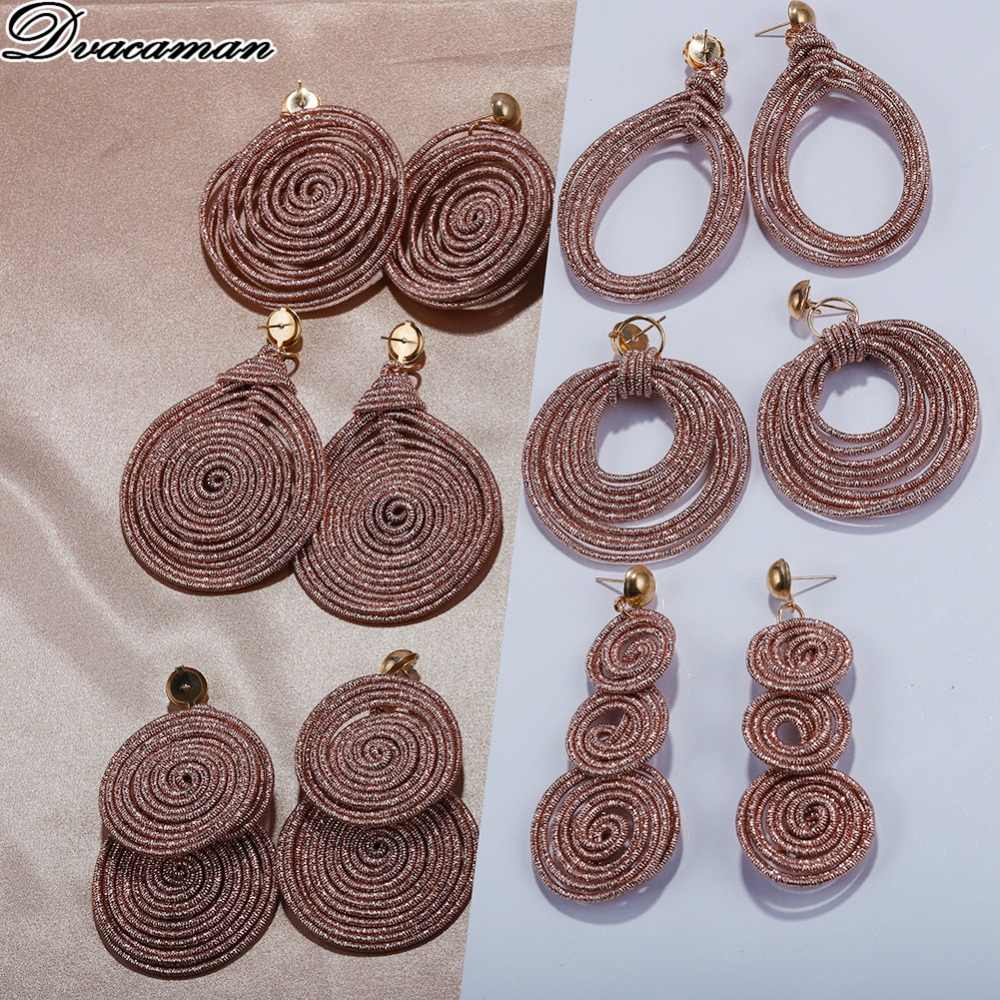 Dvacaman Bohemain Multilayer Round Alloy Drop Earrings Women 2019 New Trendy Maxi Earrings Statement Jewelry Party Gifts Female
