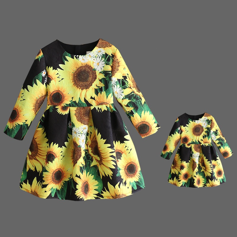 brand sunflower jacquard pleated dress mother and daughter dresses family clothes children dress mom baby girls matching dresses