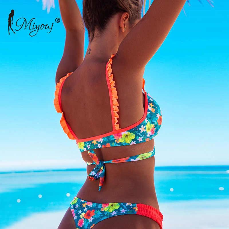 ce6e0260c9028 ... Miyouj 2018 Ruffle Bikini Push Up Floral Sexy Bandage Swimsuit Lace Up  Swimwear Women Brazilian Biquini ...