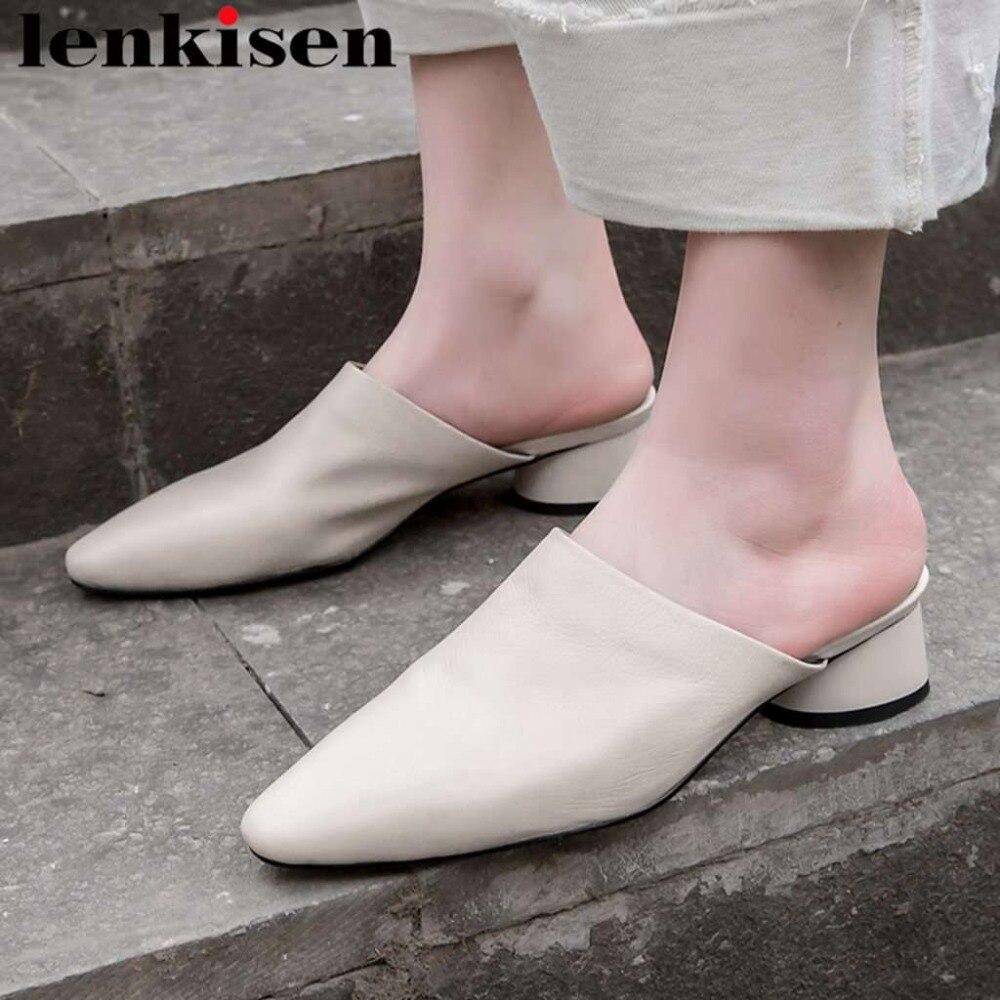 Lenkisen Woman Shoes Mules Square Toe Low-Heels Elegant Classic on Comfort Solid Slip