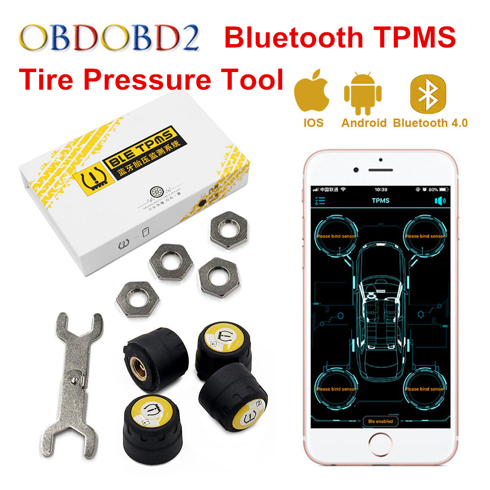 Newly V11B Tire Pressure Alarm Monitor System Bluetooth TPMS Tester Android IOS Suitable 4 pcs External