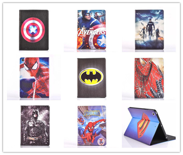 Cartoon Stand tablet case cover for apple ipad 2 3 4 Spider-Man superman Captain America The Avengers Iron Man Batman For kids superior spider man volume 3