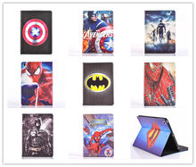 Cartoon Stand tablet case cover for apple ipad 2 3 4 Spider-Man superman Captain America The Avengers Iron Man Batman For kids(China)