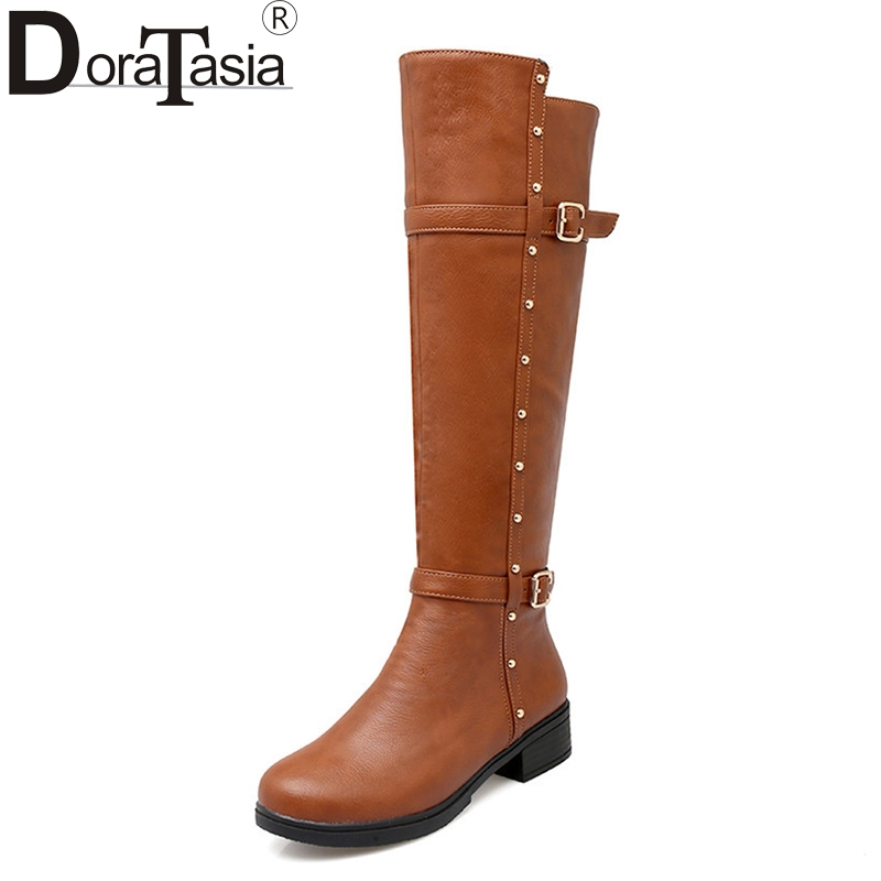 DoraTasia Fashion Women Knee High Boots Big Size 34-43 Fashion Rivets Design Square Heels Shoes Women Winter Boots doratasia big size 34 43 women half knee high boots vintage flat heels warm winter fur shoes round toe platform snow boots