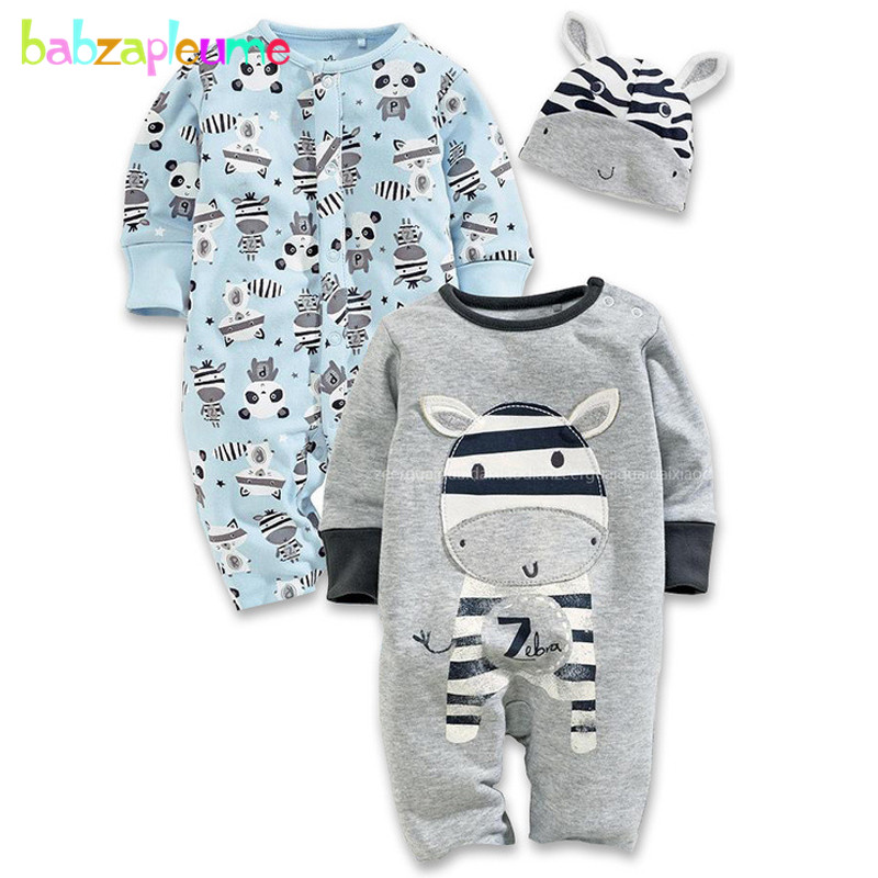 3PCS/0-24Months/Spring Autumn Infant Costume Baby Clothes Boys Girls Rompers Cartoon Jumpsuit+Hats Newborn Clothing Sets BC1128 newborn baby rompers baby clothing 100% cotton infant jumpsuit ropa bebe long sleeve girl boys rompers costumes baby romper