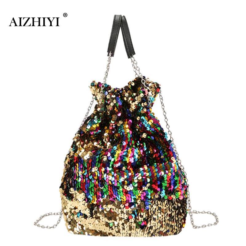 Women Mini Sequin Bucket Shoulder Bag Chain Fashion Designer Evening Party Messenger Bag for Women Crossbody Bag Female Handbag
