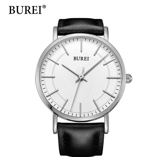 Burei Новые Мужские Часы 2016 Мода Повседневная Роскошные Известный Бренд Высокого Качества Часы Кожа Водонепроницаемые Кварцевые женские Наручные Часы