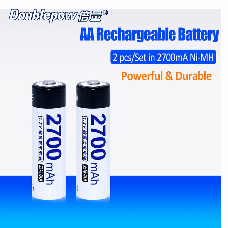 2pcs/Lot Doublepow DP-AA2700mA 1.2V AA Ni-MH rechargeable battery in Actual High Capacity Battery Cell of 2700mAh FREE SHIPPING trustfire rechargeable 1 2v 2700mah ni mh aa battery blue white 4 pcs