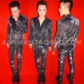 Versión Coreana de Los Hombres más el tamaño S-4XL Negro Trajes Cantante Masculino Brillante Flaco Blazer Pantalones Rendimiento Traje Trajes de Fiesta