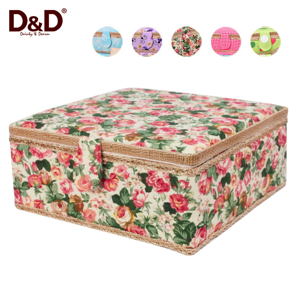 Multi function storage box handmade fabric covered wooden for Fabric covered boxes craft