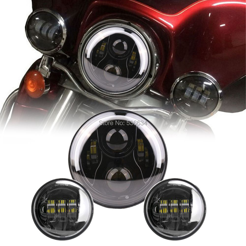 7inch For Harley Daymaker LED Round Headlight Hi/Low DRL Halo Matching 4.5Inch Passing Lamps Fog Lights For Harley Road King