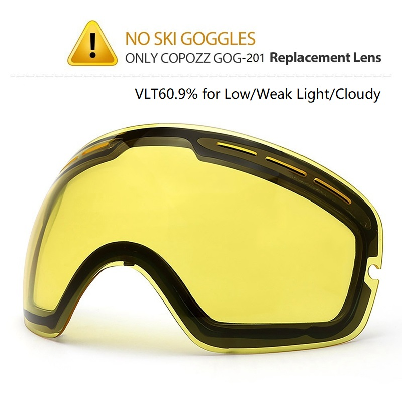 COPOZZ marca brillo Original para esquí gafas de modelo GOG-201 lente amarilla de luz débil tint tiempo nublado