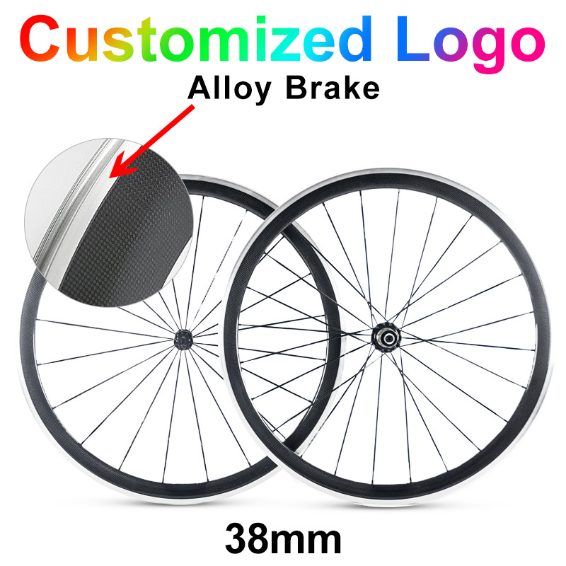 700c 38mm alloy brake carbon road bike wheels 23mm width  50mm 60mm  88mm clincher 3k ud chinese bicycle cycling wheelset width 23mm 700c chinese beautiful custom sticker carbon clincher wheel 50mm alloy brake surface powerway r36 ceramic