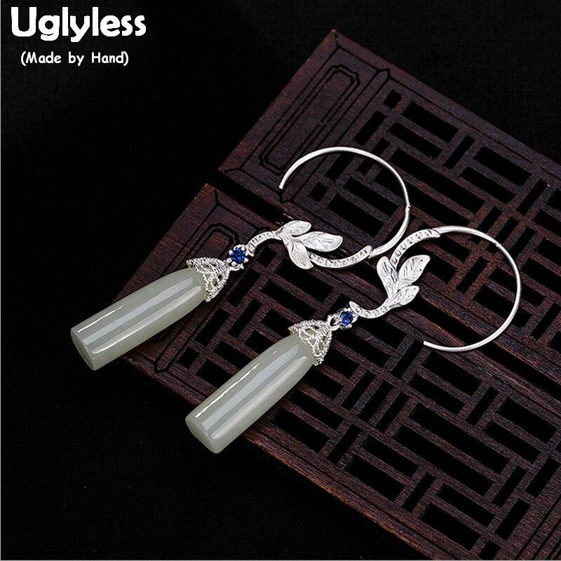 купить Uglyless S 925 Sterling Silver Orchid Dangle Earrings Elegant Women Natural Jade Earrings Handmade Brincos Bijoux Lapis Jewelry