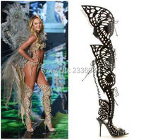 Hot Fashion Long Cut out High heels Gladiator Sandals Women Butterflies Over The Knee Boots Lace Up Open Toe Women Sandals Boots