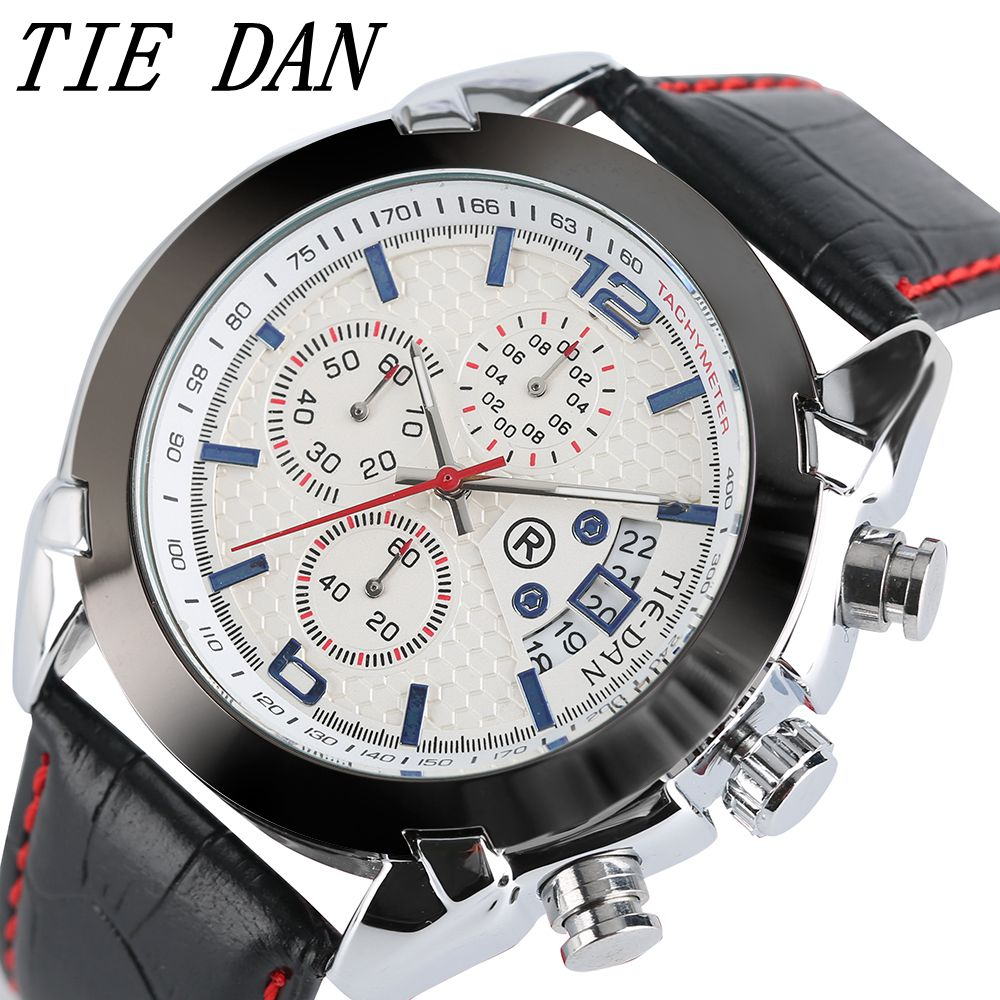 TIEDAN Sports Watch Outdoor Clock Date Display Men Business Watches Genuine Leather Band Analog Quartz Wrist Watch High Quality orkian relojes 2016 new clock men luxury masterpiece elegant date display genuine band wrist watch cool horloges mannen
