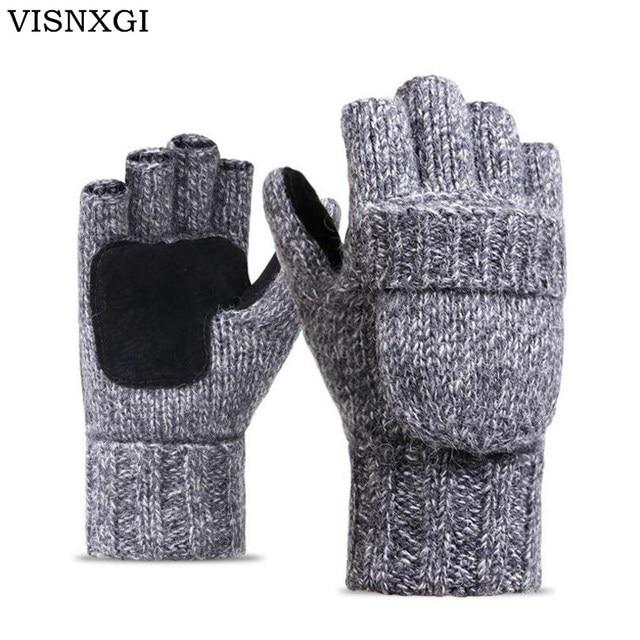 Visnxgi работу толщиной мужские перчатки без пальцев Для мужчин Для женщин шерсть теплые зимние открытые палец варежки вязаные теплые флип половины пальцев перчатки