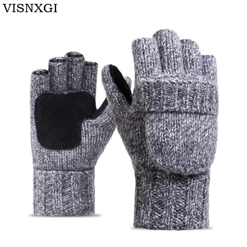 VISNXGI Work Thick Male Fingerless Gloves Men Women Wool Winter Warm Exposed Finger Mittens Knitted Warm Flip Half Finger Gloves