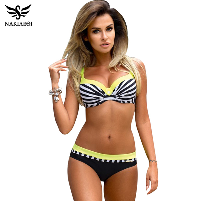 NAKIAEOI 2018 Sexy Push Up Bikini Women Swimsuit Plus Size Swimwear Print Patchwork Bikini Set Bathing Suit Beach Wear Swimming