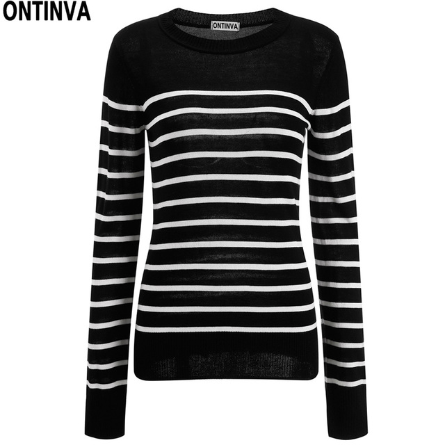 4d175d5edf Black White Striped Loose Pullover Sweaters Jumper Womens O Neck Full  Sleeve 2018 Autumn Femininas Knitted