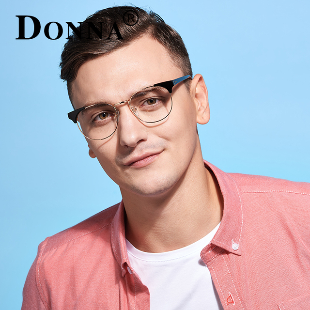Donna Vintage Wood Alloy Eyeglasses Optical Men Brand Clear Lens Circle Anti Radiation Glasses Computer Glasses Women Oculos