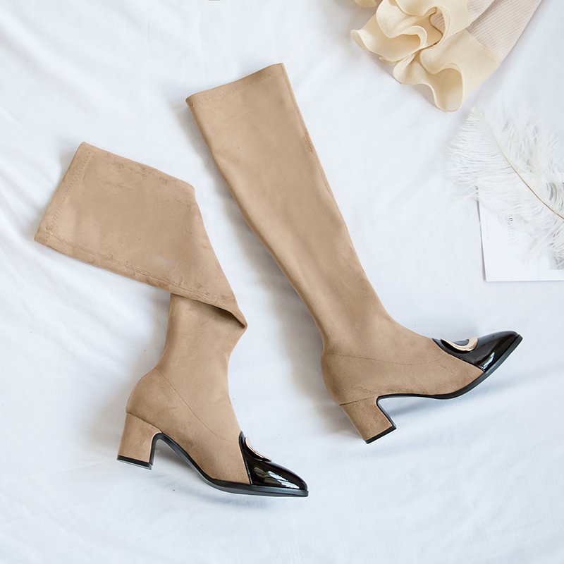 Bottes Bout Glissent Noir Moto Femme Boot 34 Khaki Talons Printemps Dames noir Chaussures gris Pointu Sur Genou Le Femmes Eshtonshero Taille 43 Med zXqvOAff