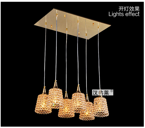 fashion brief design luxurious golden crystal Dia14cm led E27*6 heads pendant light living room dining room bedroom lamp 1633 modern fashion luxurious rectangle k9 crystal led e14 e12 6 heads pendant light for living room dining room bar deco 2239