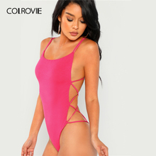 Strappy Backless Cross Slim Bodysuit RK
