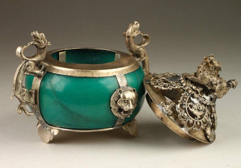 Винтаж коллекция ручной старый Тибет серебряный дракон jade Ладан горелки GILT антикварные украшения сада 100% тибетское серебро латунь