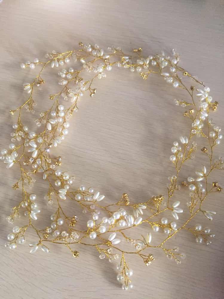 Lujo plata oro perla cristal nupcial diademas corona tocado - Bisutería - foto 3