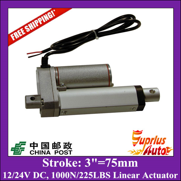 цена на Free Shipping 75mm/3 stroke electric linear actuator, 225LBS/100KGS/1000N load DC 12V/24V linear actuator