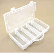 23.5*12.5*4.5cm 4 Compartments Portable detachable plastic box with handle Fishing lure Hook tool accessories boxes case
