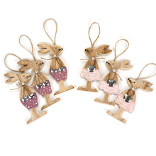 Easter decoration 6pcs wood rabbits party diy handmade craft festival gift beautiful bunny animal happy easter