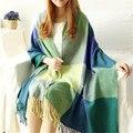 Cachecol Mulheres da Manta de Tartan Lenços e Echarpes bufandas Tippet Wraps Marca Senhoras Inverno Quente pashmina xaile do Lenço Da Senhora WJ016