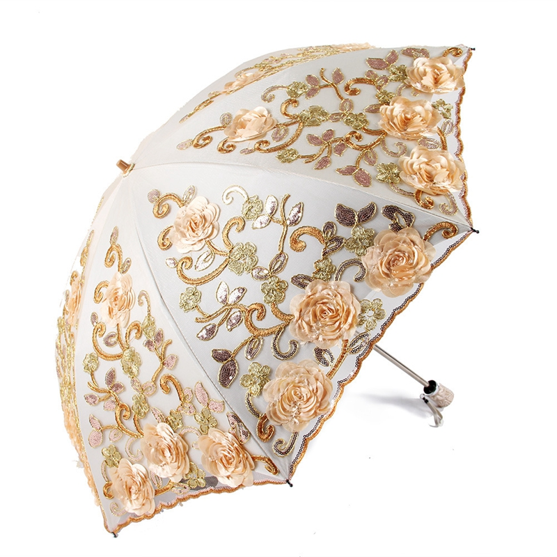 2018 Exquisite Umbrellas Lace Embroidery UV Beach Umbrella Folded Adult Flower Rose Sun umbrella Rain Women Noble Parasol2018 Exquisite Umbrellas Lace Embroidery UV Beach Umbrella Folded Adult Flower Rose Sun umbrella Rain Women Noble Parasol