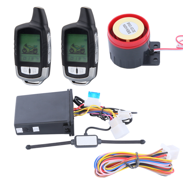2 way motorcycle alarm system remote engine start/cut off, shocking warning and motorcycle locating