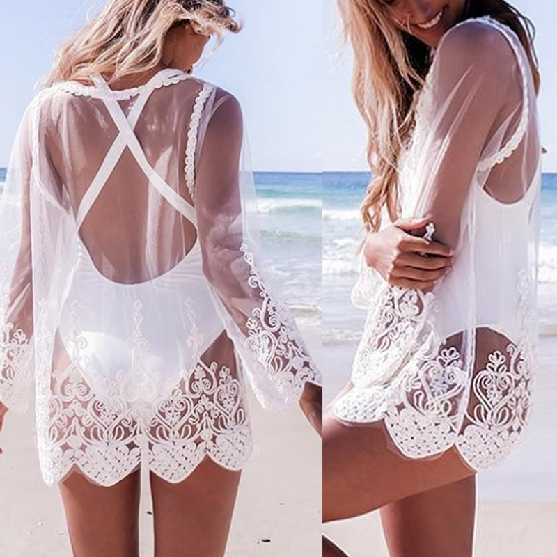 KLV Hollow Out Mesh Lace Women Summer Long Sleeve O Neck T- Shirt Coverup Beach Sunscreen Sexy Clothes
