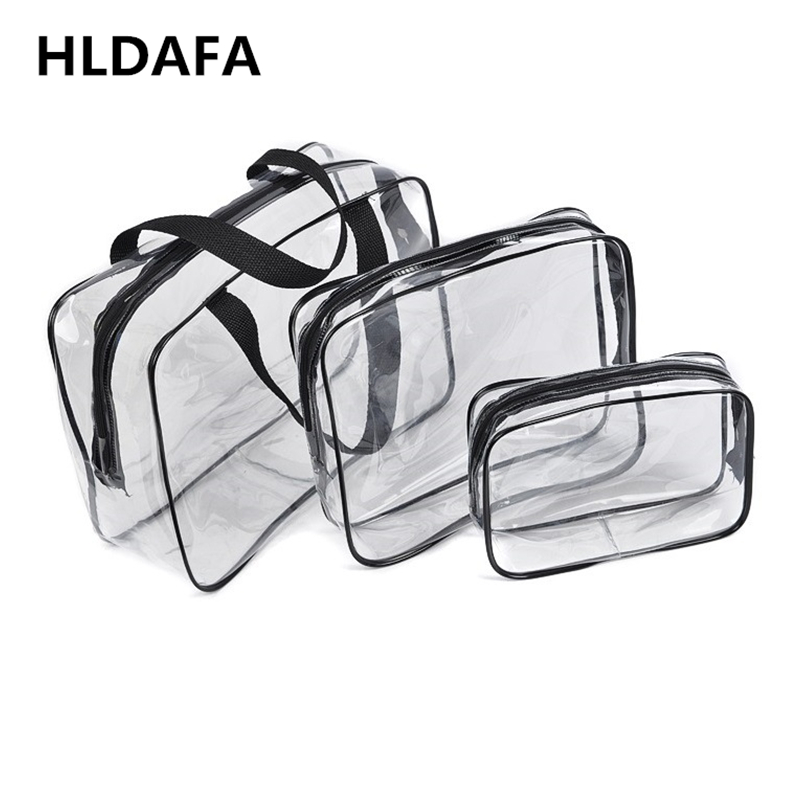 HLDAFA 2019 3Pcs Set PVC Travel Bag Women Transparent Storage Bag Zip Lock Plastic Bag Waterproof Wash Makeup Bag Cosmetic Cases