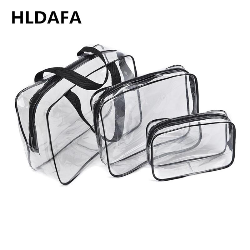 HLDAFA 2020 3Pcs Set PVC Travel Bag Women Transparent Storage Bag Zip Lock Plastic Bag Waterproof Wash Makeup Bag Cosmetic Cases