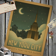 New York City Without Darkness Vintage Poster Kraft Paper Wall Sticker Living Room Cafe Bar Pub