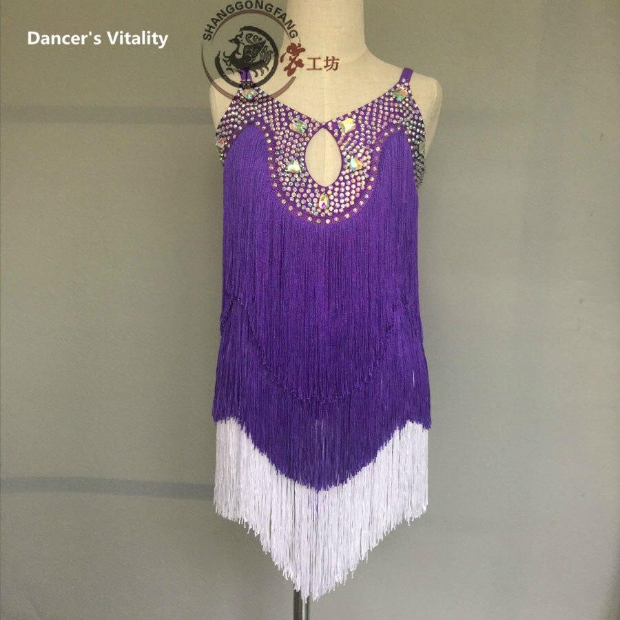 Latin Dance Clothes Women Luxury Spandex Latin Dance Dress For Girls Latin Dance Tassel Dress Cha-cha Dance Clothing 120-180CM
