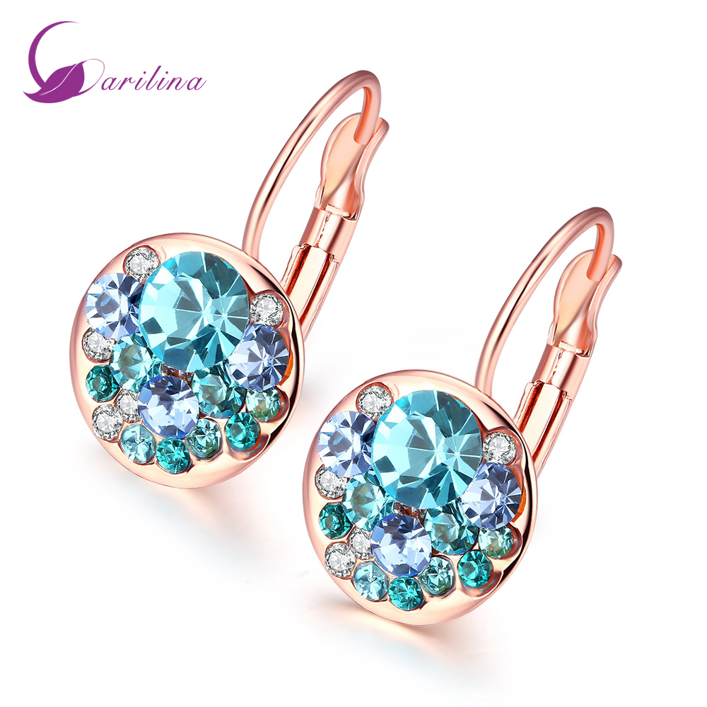 Birthstone Clip on Earrings for Girls Crystal December Oval Drop Asymmetrical Earring