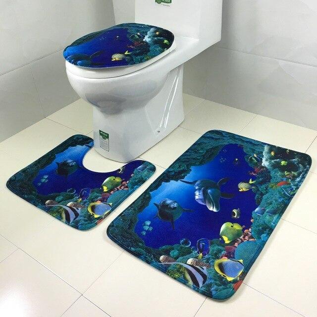 Eine 3 Teile/satz Saugfähige Rutschfeste Sockel Teppich Deckel  Toilettendeckel Badematte Badezimmer Set Haushalt Bad